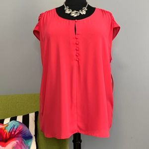 Sejour Red Beetroot Button Front Blouse Top